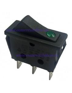 interruptor basculante 30x11mm verde 1NO/lámpara 250V 16A empalm