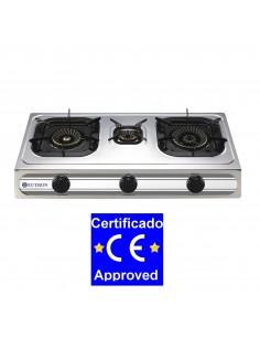 Cocina Sobremesa a gas 3B-03SRB 3 fuegos CON TERMOPAR