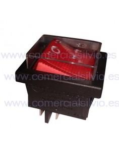 Interruptor basculante rojo con protector KEDU HY12