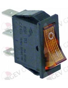 interruptor basculante 30x11mm naranja 1NO/lámpara 250V 16A 0-I