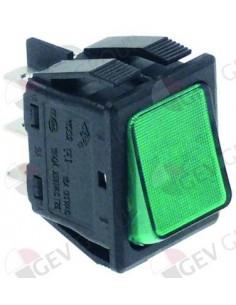 interruptor basculante 30x22mm verde 2CO 250V 16A iluminado empa