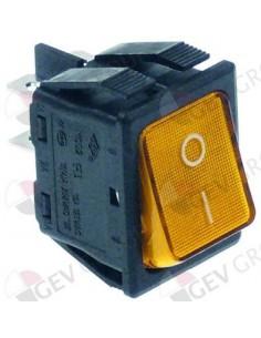 pulsador basculante 30x22mm naranja 2NO 250V 16A iluminado 0-I e