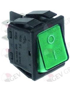 pulsador basculante 30x22mm verde 2NO 250V 16A iluminado 0-I