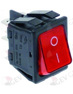 pulsador basculante 30x22mm rojo 2NO 250V 16A iluminado 0-I