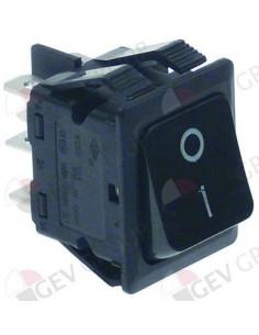 interruptor basculante 30x22mm negro 2NO 230V 16A 0-I empalme