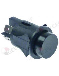 pulsador montaje ø 25mm negro 2NO 250V 16A empalme conector Fast