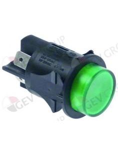 interruptor pulsante montaje ø 25mm verde 2NO 250V 16A iluminado