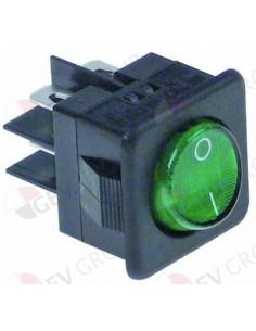 interruptor basculante 27,8x25mm verde 2NO 250V 16A iluminado 0-