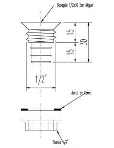 Coreco Desagüe 1/2x30 gas con Tuerca San Miguel