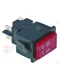 interruptor pulsante 34,1x23,1mm rojo 2NO 250V 16A empalme conector Faston 6,3mm 0-1 GAM, Project