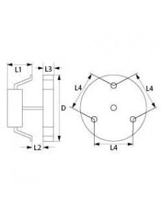 ventilador de aire caliente 220V 55W 50/60Hz L1 65mm L2 15mm L3 25mm L4 87mm Fime L25R7513 Smeg