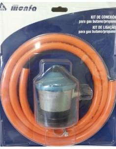 Regulador de gas 29Mbr de GLP en formato blister con el tubo y las abrazaderas