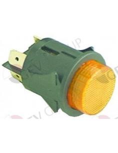 interruptor pulsante montaje ø 25mm amarillo 2NO 250V 16A iluminado empalme conector Faston 6,3mm
