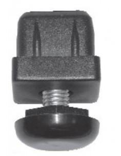 Pata regulable para tubo 30x30mm en poliamida negra Elevación máxima: 35mm