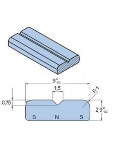 Imán Contramagnético NSN 9x2,9mm para burlete Metro