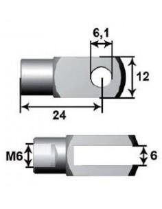 Anclaje Bifurcado Ø6mm L24 M6