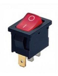 interruptor basculante medida de montaje 19x13mm rojo 2NO 250V 13A iluminado 0-I