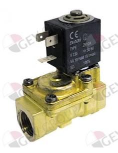 """válvula magnética latón 2vías 230 VAC empalme 3/4"""" L 79mm DN 18mm 120123 Comenda"""