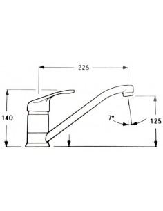 """grifo monomando de 1 orificio manilla corta empalme ½"""" longitud"""