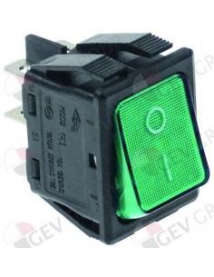 interruptor basculante 30x22mm verde 2NO 250V 16A iluminado 0-I