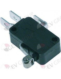 microinterruptor con palanca de rodillo 250V 16A 1CO empalme conector Faston 6,3mm
