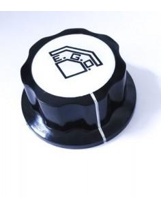 pomo termostato T máx 200°C ø 50mm eje ø 6x4,6mm parte plana arriba negro