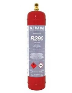 Gas Refrigerante R-290 Envase 370gr Norma CE. Envase matálico, válvula latón.