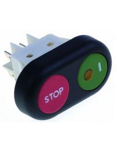 Interruptor pulsante medida de montaje 30x22mm rojo/verde 2NO 250V 16A enclavamiento RGV