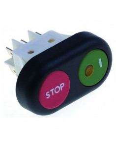 interruptor pulsante medida de montaje 30x22mm rojo/verde 2CO 250V 16A Stop / I Amatis Horeca-Select Omas RGV