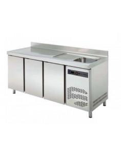 Mesa refrigerada con fregadero Fondo 600 TRS