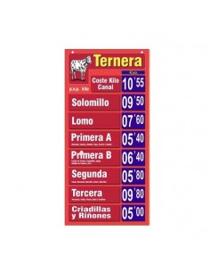 Cartel portaprecio TERNERA