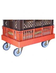 Base rodante roja con ruedas