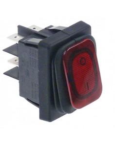 interruptor basculante 30x22mm rojo 2NO 230V 16A Prot. Goma